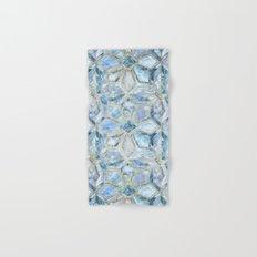 Geometric Gilded Stone Tiles in Soft Blues Hand & Bath Towel