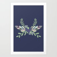 Hearts and Feathers Art Print