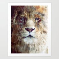 lion Art Prints featuring Lion // Majesty by Amy Hamilton