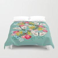 Buckeye Butterly Florals by Andrea Lauren  Duvet Cover