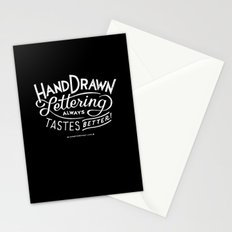 hand drawn lettering ALWAYS tastes better: black  Stationery Cards