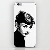 Audrey Hepburn Black and white iPhone & iPod Skin