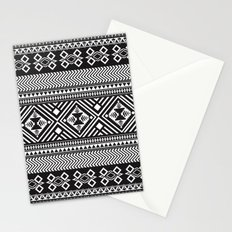 Monochrome Aztec inspired geometric pattern Stationery Cards