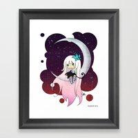 Silver Butterfly Moon Framed Art Print