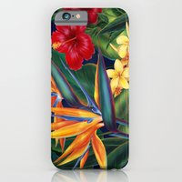 iPhone Cases featuring Tropical Paradise Hawaiian Floral Illustration by Drive Industries