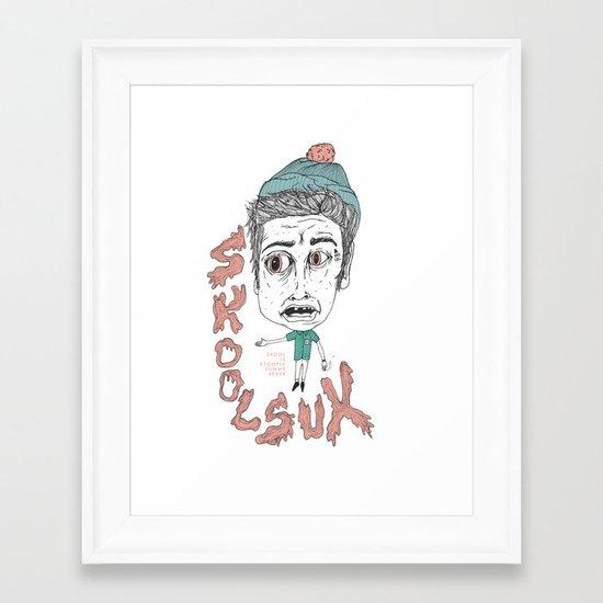 SKOOL SUX / SUMMR 4EVER Framed Art Print