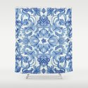 Pattern in Denim Blues on White Shower Curtain