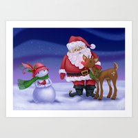 Santa & Friends Art Print