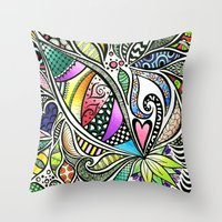 Zentangle Flowering Colo… Throw Pillow