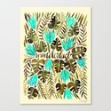Tropical Wanderlust – Turquoise & Olive Canvas Print