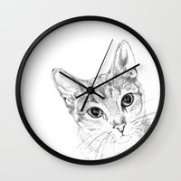 A Sketch :: Cat Eyes Wall Clock
