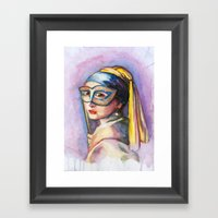 Pearls And Gold Framed Art Print