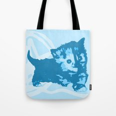 Here Kitty, Kitty - bright blue/grey Tote Bag