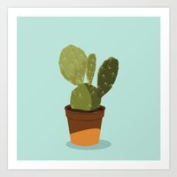 Orange Pot Cactus Art Print