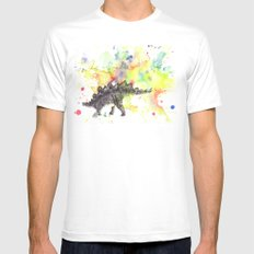 Stegosaurus Dinosaur in Splash of Color SMALL White Mens Fitted Tee