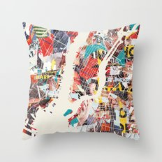 New York Map collage magazine Throw Pillow