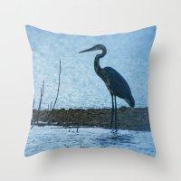 Great Blue Heron Fishing Throw Pillow