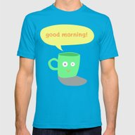 Good Morning! Mens Fitted Tee Teal SMALL