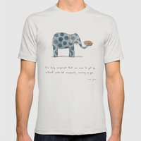 polka dot elephants serving us pie Mens Fitted Tee Silver SMALL