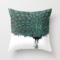 Peacock -blue Throw Pillow