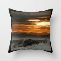Winter Shorebreak At Sun… Throw Pillow