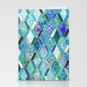 Sapphire & Emerald Diamond Patchwork Pattern Stationery Cards