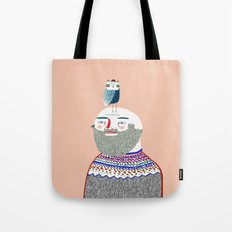Man And Owl.  Tote Bag