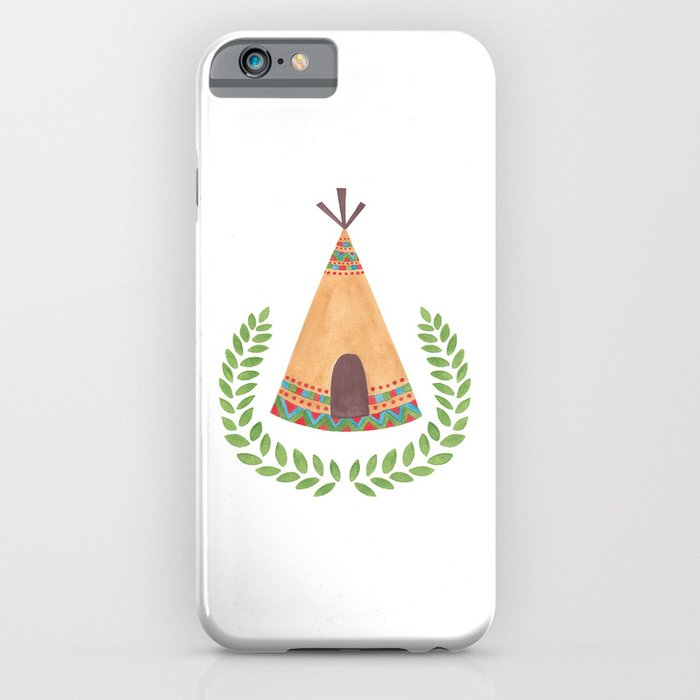 Tipi Watercolor Illustration on iPhone Skin by Haidi Shabrina
