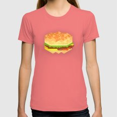Cheeseburger Womens Fitted Tee Pomegranate SMALL