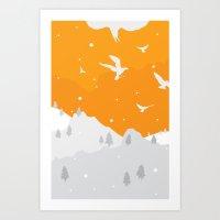 Winter Hills Art Print