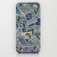 Vintage Postage Stamp Collection - Blue iPhone 6 Slim Case