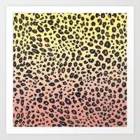 CORAL & YELLOW LEOPARD Art Print