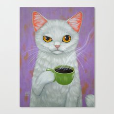 WHITE CAT AND BLACK COFFEE Canvas Print
