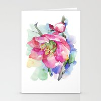 cherry blossom Stationery Cards featuring Cherry Blossom by A cup of grey tea