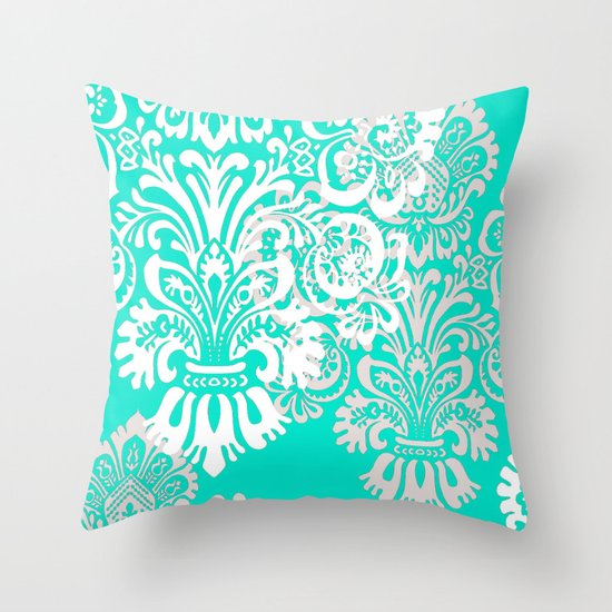 Tiffany Blue and White Damask Throw Pillow by Kimpressions Society6