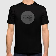 not all those who wander are lost SMALL Black Mens Fitted Tee