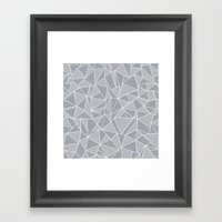 Abstraction Lines Grey Framed Art Print