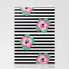 poppies stripes  Stationery Cards