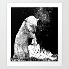 asc 257 - Le grand frère (The elder brother) - Night version Art Print
