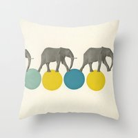 Travelling Elephants Throw Pillow