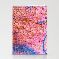 Cracks with blue lines Stationery Cards