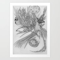 Fall of Queen's city / Original A4 Illustration / Pen & Ink Art Print