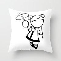 Kawaii Doll Umbrella Throw Pillow