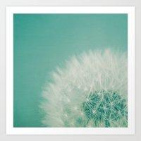 Aqua Dandelion  Art Print
