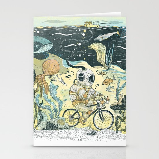 Cycling in the Deep Stationery Card