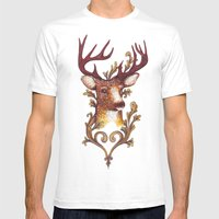Stag Illustration 1/6 Mens Fitted Tee White SMALL