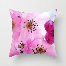 Cherry Blossoms - Pink Flower Art By Sharon Cummings Throw Pillow