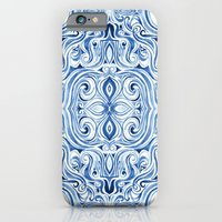 iPhone Cases featuring Indigo Blue Watercolor Swirl Pattern by micklyn