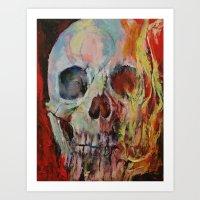Skull Fire Art Print