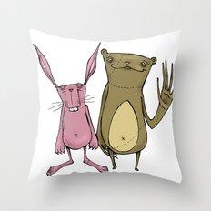 Bunny and Bear Friends  Throw Pillow